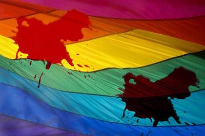 Resultado de imagem para bandeira gay sangrando